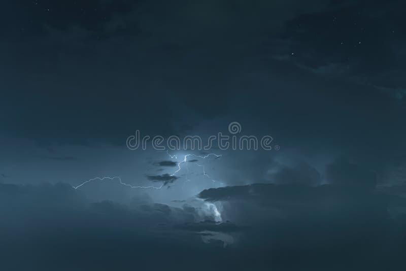 Night sky with thunderstorm royalty free stock photo