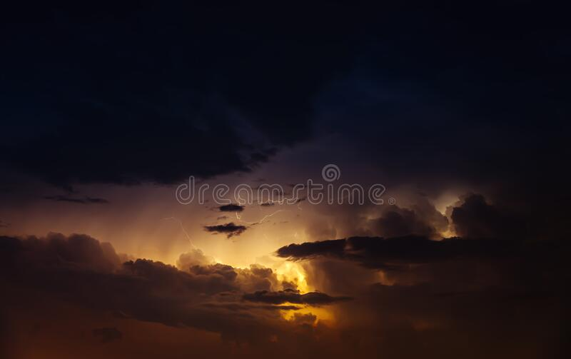 Night sky with thunderstorm royalty free stock image
