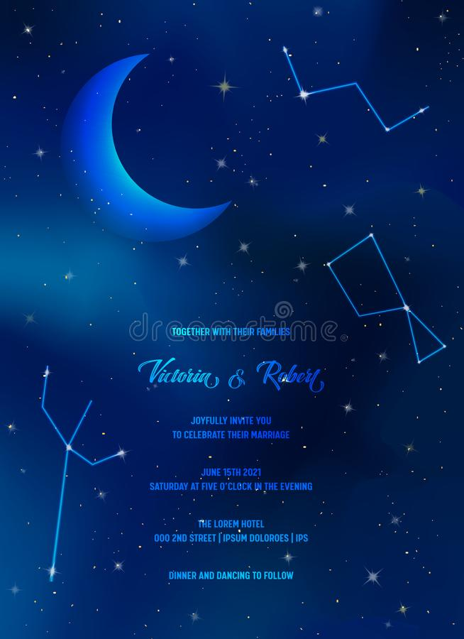 Night Sky Trendy Wedding Invitation Card, Save the Date Celestial Template with Moon, Stars, Galaxy, Space vector illustration