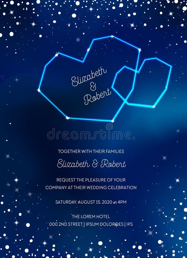 Night Sky Trendy Wedding Invitation Card, Save the Date Celestial Template with Moon, Stars, Galaxy, Space stock illustration