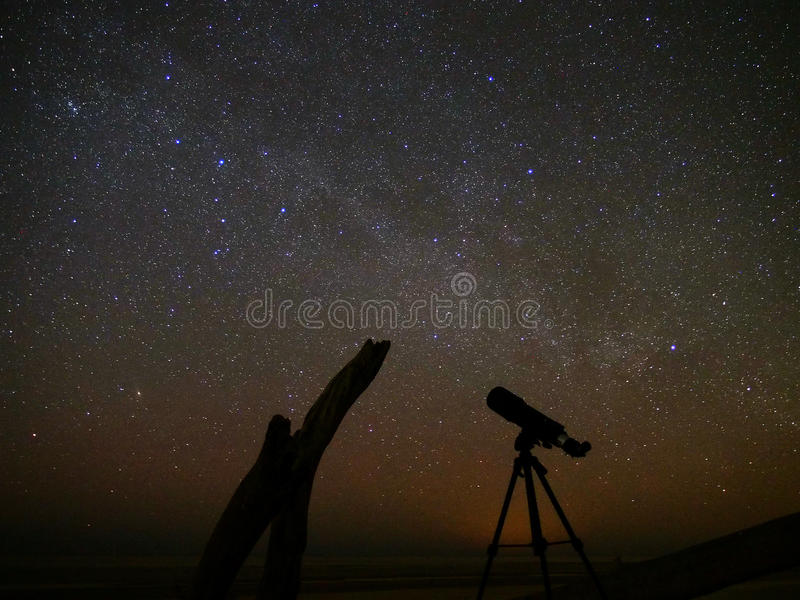 Night sky and universe stars observation over telescope royalty free stock images