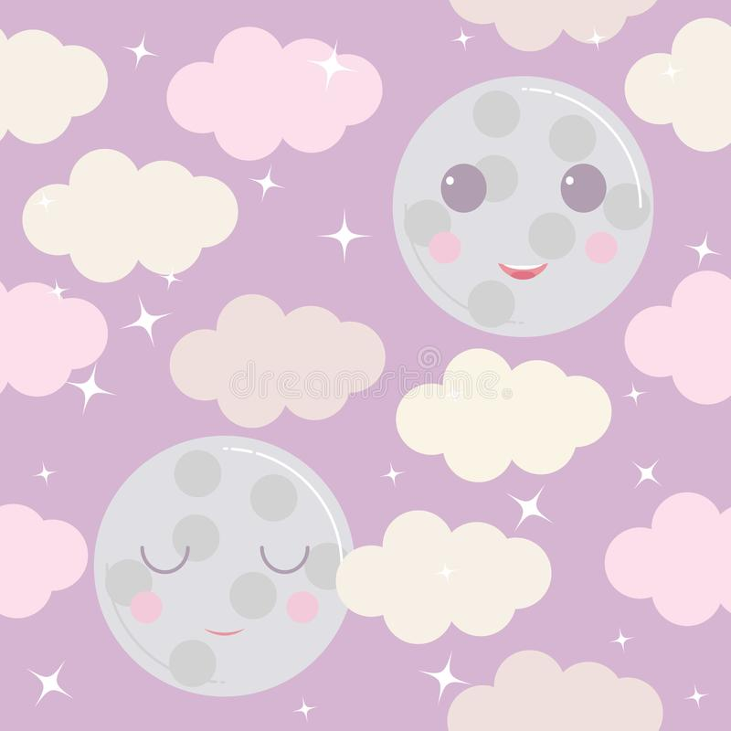 Night sky vector pattern. Cute smiling moon, stars, clouds background vector illustration