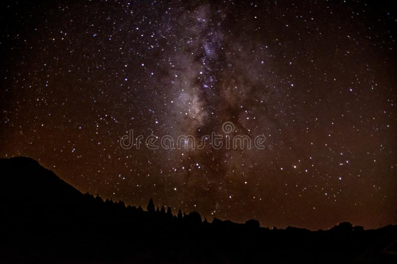 The night sky and visible stars and constellations from Mirador Astronomical LLano del Jable, La Palma, Canarys Islands, Spain. The night sky and visible stars royalty free stock photography