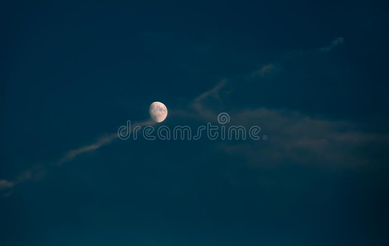 Night sky with white moon stock images