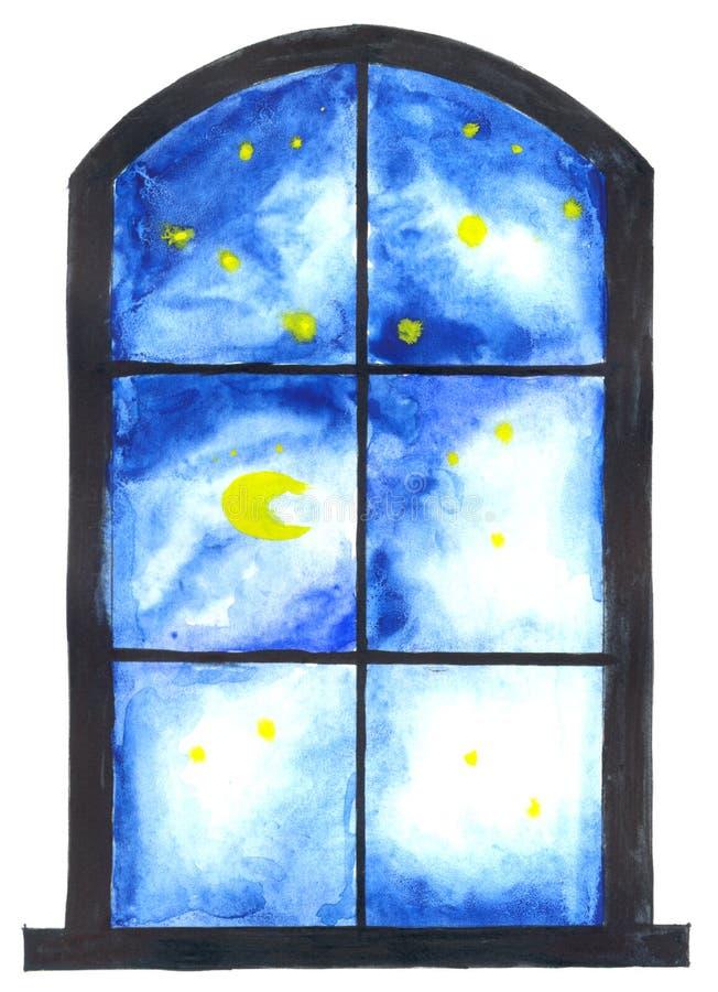 Download Night sky through window stock illustration. Illustration of view - 8642255