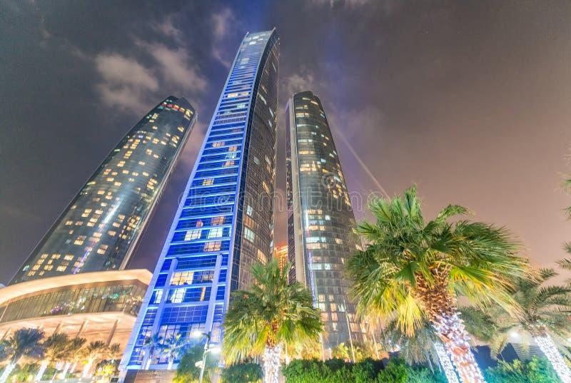 Night skyline of Abu Dhabi. City lights stock image