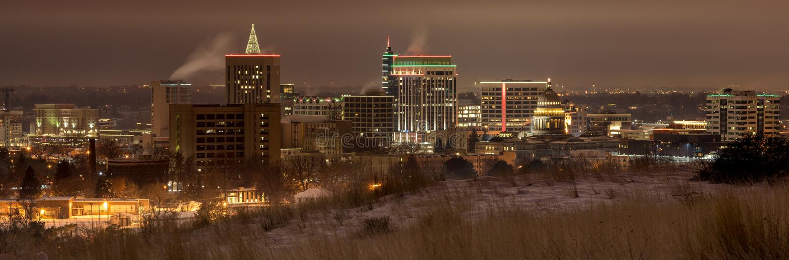 Night skyline of Boise Idaho in winter stock photography