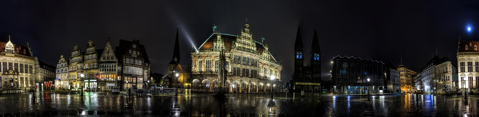 Night Skyline of Bremen main market square. In the centre of the old Hanseatic City, Germany. 360 degree panoramic montage from 30 images stock photography