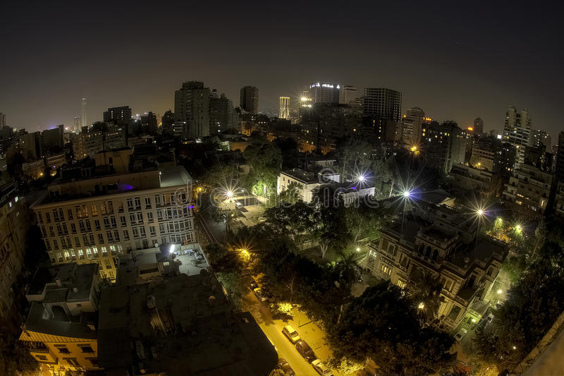 Night Skyline Cairo. Cairo at night with a fisheye. Beautiful Citylights and clean air stock photo