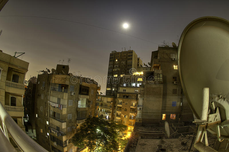 Night Skyline Cairo. Cairo at night with a fisheye. Beautiful Citylights and clean air. A typical scene in Cairo. The area is Doqqi stock photography