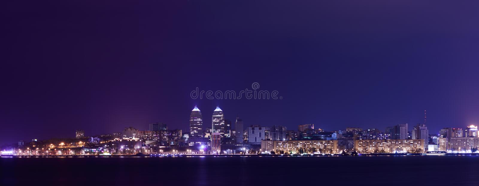 Night Skyline of Dnipropetrovsk and river Dnipro, Ukraine. Night Skyline of Dnipropetrovsk with Reflection in the river Dnipro, Ukraine royalty free stock images