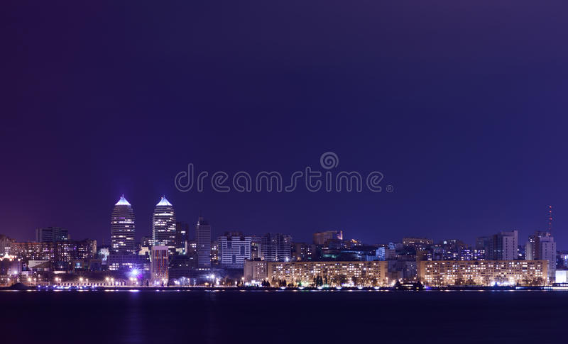 Night Skyline of Dnipropetrovsk and river Dnipro, Ukraine. Night Skyline of Dnipropetrovsk with Reflection in the river Dnipro, Ukraine royalty free stock image