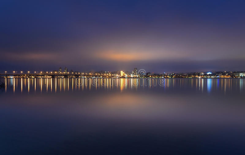 Night Skyline of Dnipropetrovsk. Night Skyline of Dnipropetrovsk with Reflection in the river Dnipro, Ukraine stock images