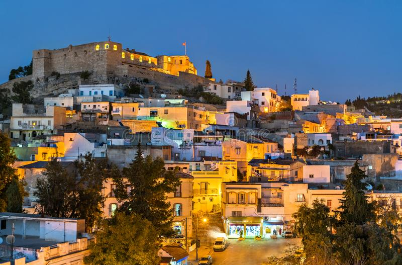 Night skyline of El Kef, a city in northwestern Tunisia. Northern Africa stock photography