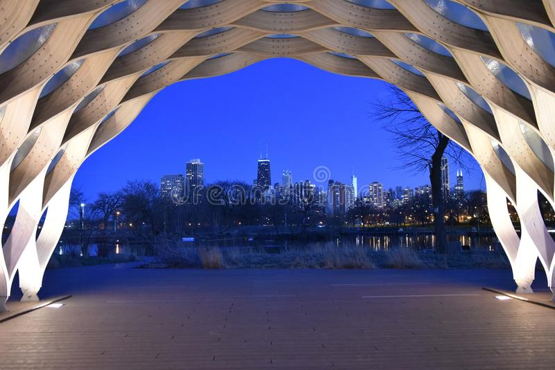 Night Skyline From The Honeycomb. This is a Spring picture of the night skyline of Chicago from the iconic Honeycomb located at the South Pond in Lincoln Park I royalty free stock images