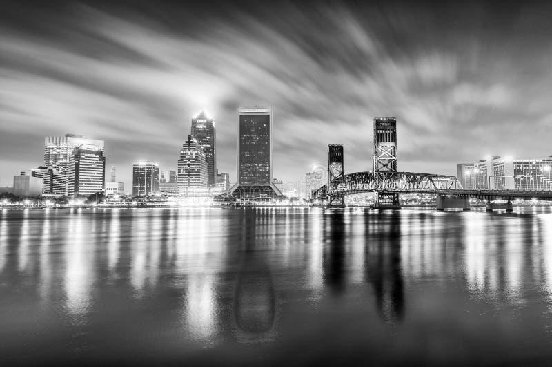Night skyline of Jacksonville, Florida stock photography