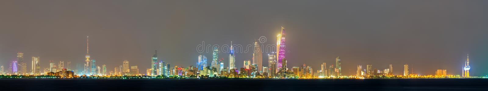 Night skyline of Kuwait City. The capital of Kuwait, a Persian Gulf country royalty free stock image