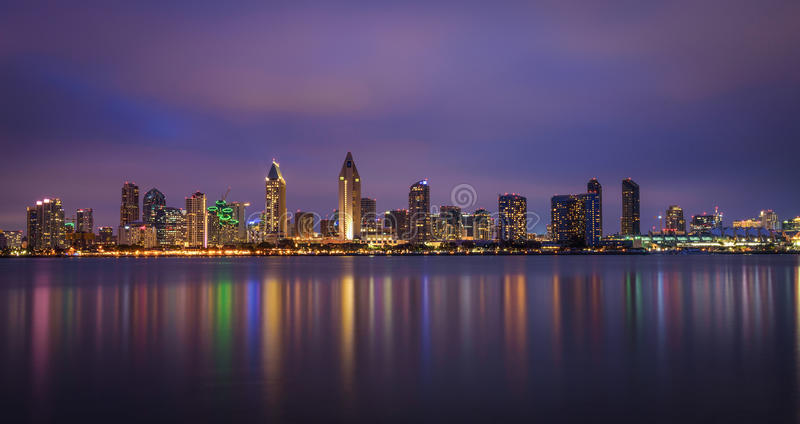 Night skyline of San Diego downtown, California royalty free stock image