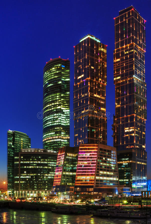 Free Night Skyscrapers Of Moscow Stock Images - 23164294