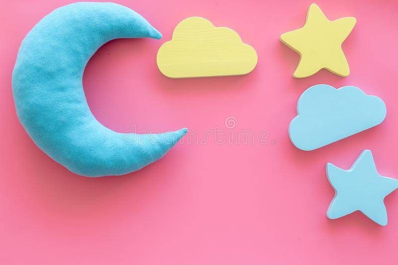 Night sleep concept with moon, stars, cloud toy on pink background top view mock up. Good dream. Night sleep concept with moon, stars, cloud toy on pink royalty free stock image