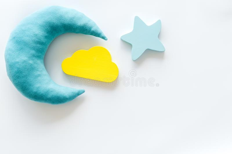 Night sleep concept with moon, stars, cloud toy on white background top view mockup. Good dream. Night sleep concept with moon, stars, cloud toy on white royalty free stock photo