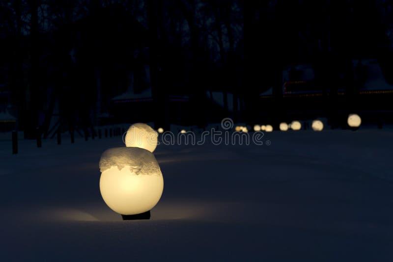 Night snow alley stock image