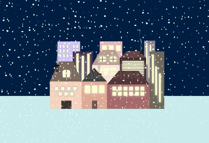 Night snowfall on the village. Poetic stock illustration