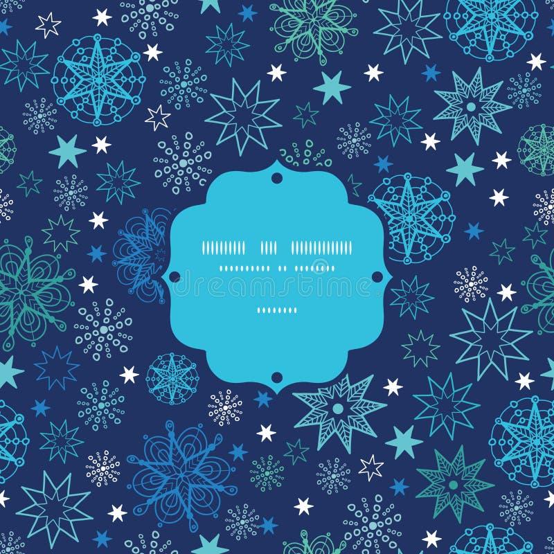 Night snowflakes frame seamless pattern background stock photos