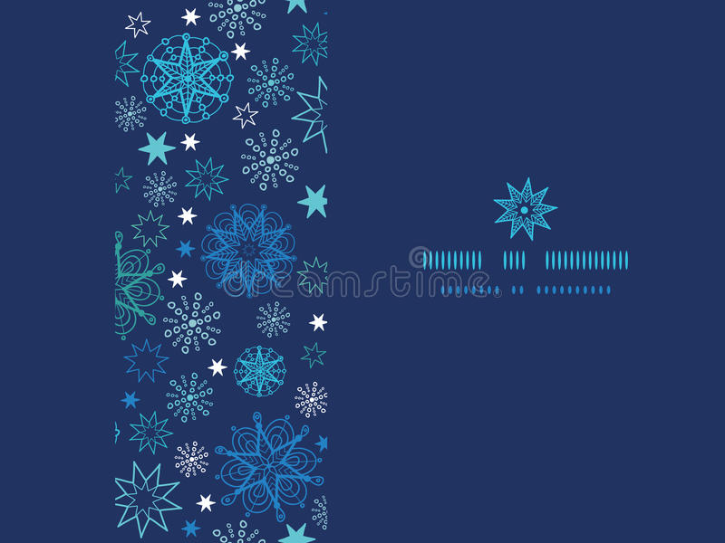 Night snowflakes horizontal frame seamless pattern