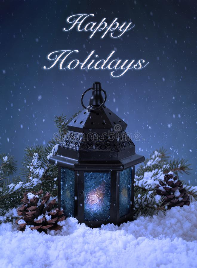 Night Snowy Setting of a Glowing Lantern royalty free stock images