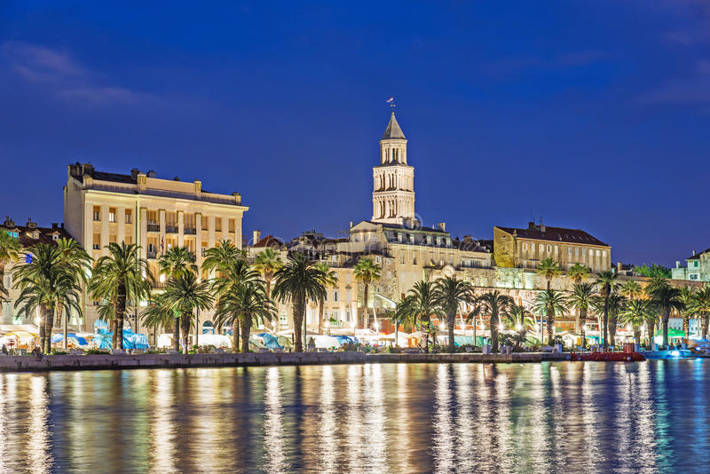 Night Split city, Croatia. Diocletian Palace, Saint Domnius cathedral tower stock image