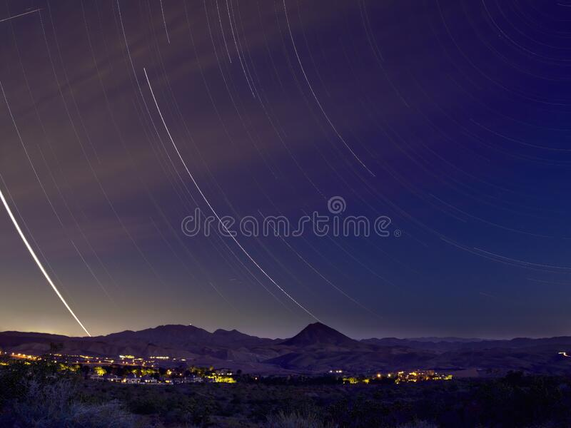 Night star trail of the Rural landscape of the Lake Mead area. At Nevada royalty free stock image