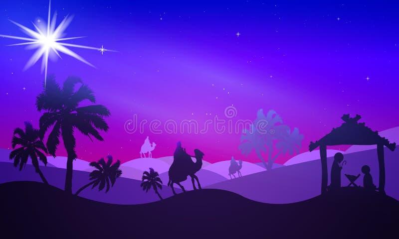 Night starry desert landscape at christmas. Vector art illustration vector illustration