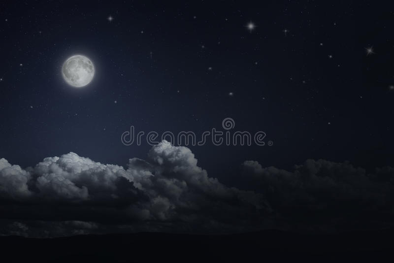 Night Starry Sky And Moon Stock Image. Image Of Clouds
