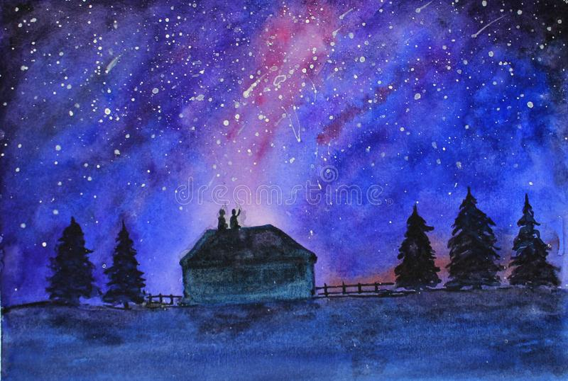 Night starry sky, people on the roof and trees. vector illustration