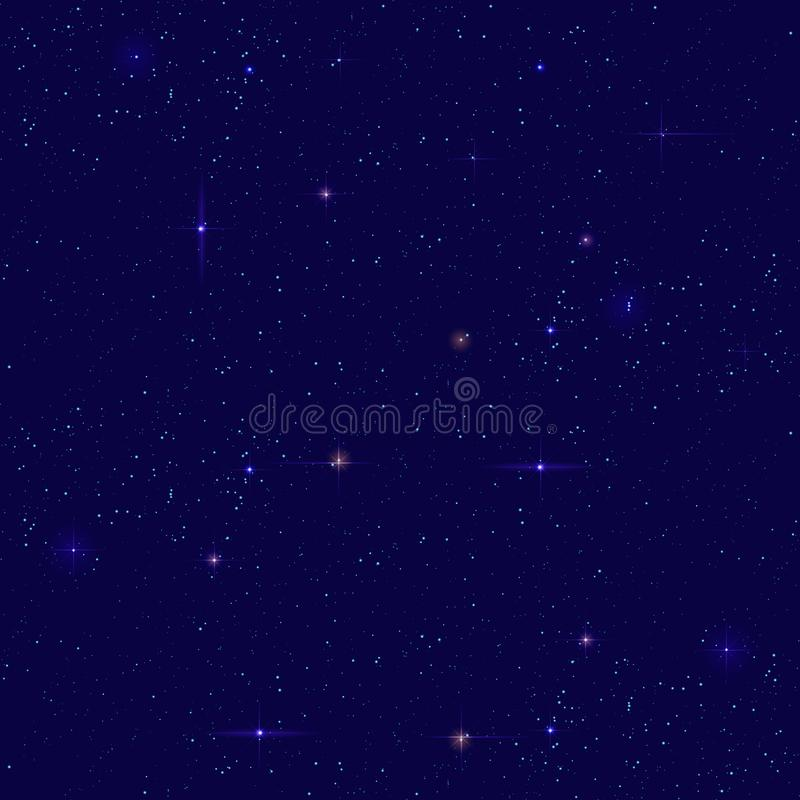 Night starry sky seamless background. Small distant star shines on dark sky royalty free illustration