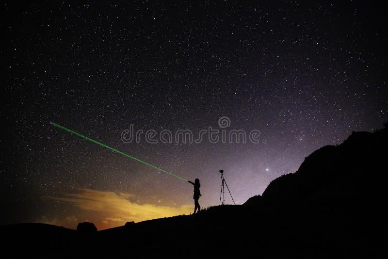 Night starry sky Stars people Oahu Hawaii stock photos