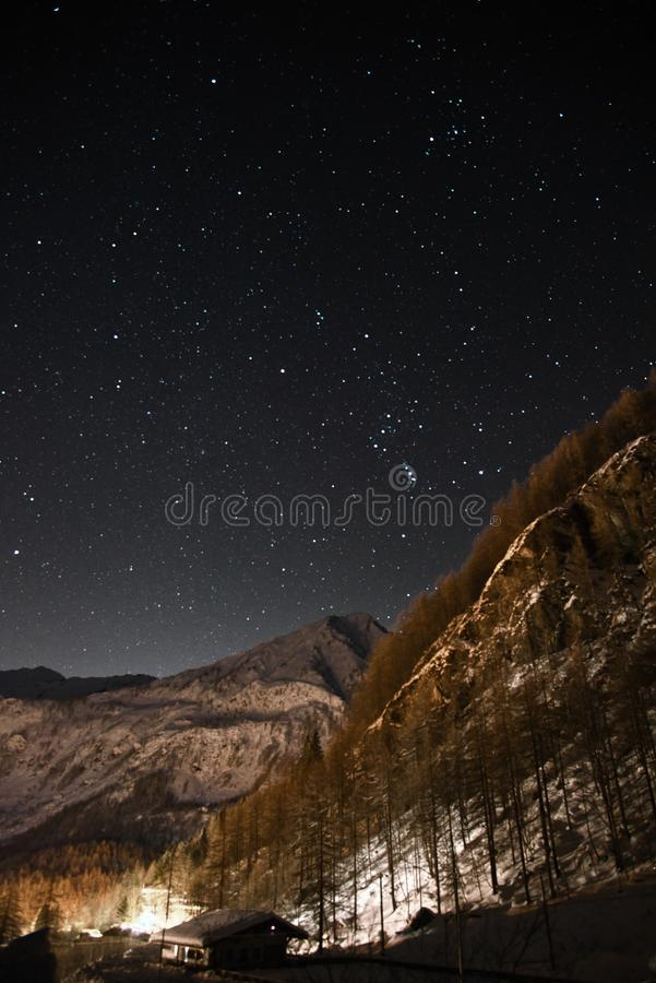 Night sky shot - Balme Torino - Italy royalty free stock photography