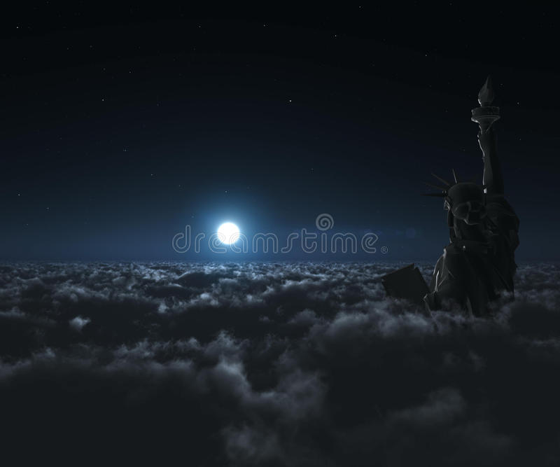 Download Night Statue stock illustration. Image of cloudscape - 18126444