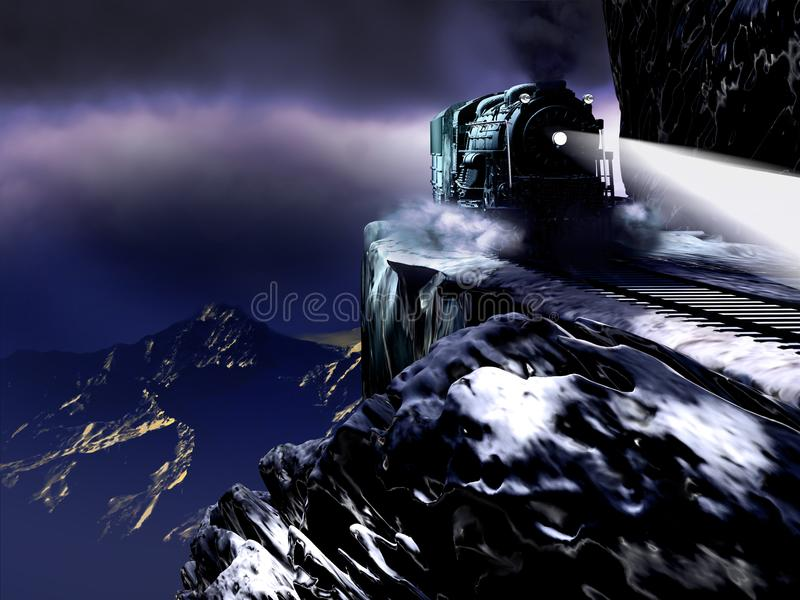 Night Steam Train over the Abyss stock illustration