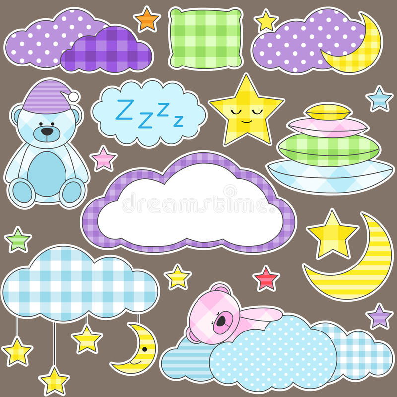 Download Night stickers stock vector. Image of cartoon, girl, fabric - 20980960