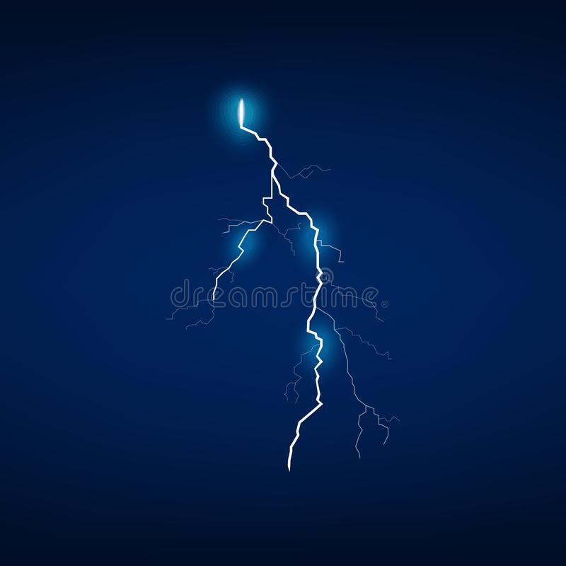Night storm lightning bolt isolated on dark background stock photo