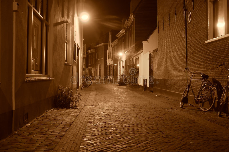 Night street in Holland city royalty free stock photo