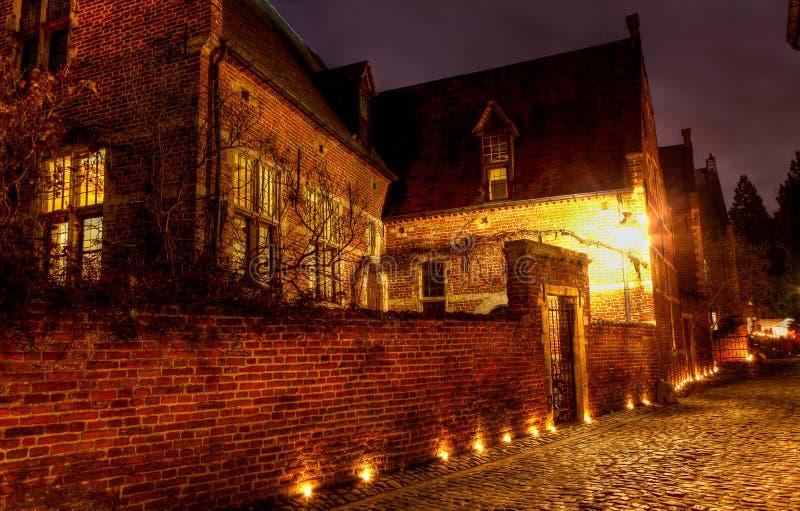 Night Street house Great Beguinage, Leuven, Belgium royalty free stock photo