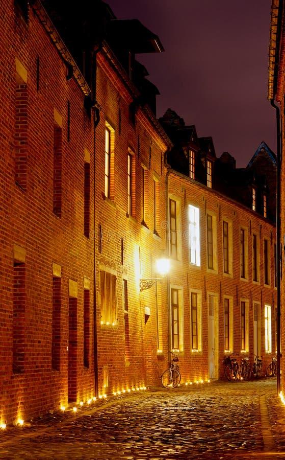 Night Street house Great Beguinage, Leuven, Belgium royalty free stock image
