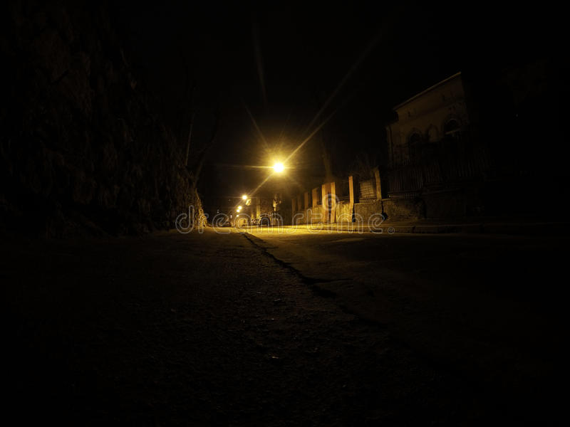 Night street in Lviv royalty free stock images