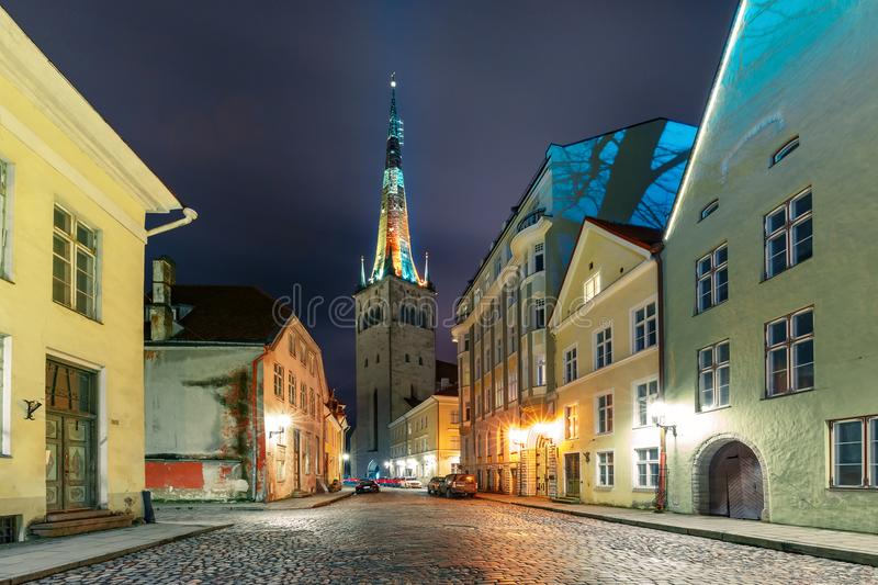 Download Night Street In The Old Town Of Tallinn, Estonia Stock Photo - Image of beautiful, landscape: 109051398