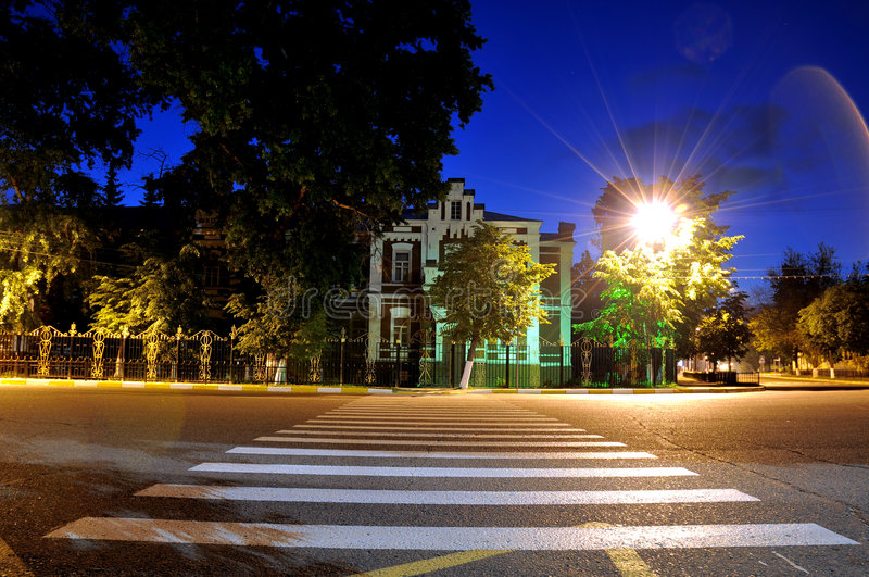 Download Night Street With A Pedestrian Crossing Stock Photo - Image: 5539942