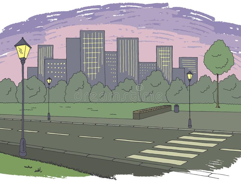 Night street road graphic color city landscape sketch illustration vector. Night street road graphic color city landscape sketch illustration vector illustration