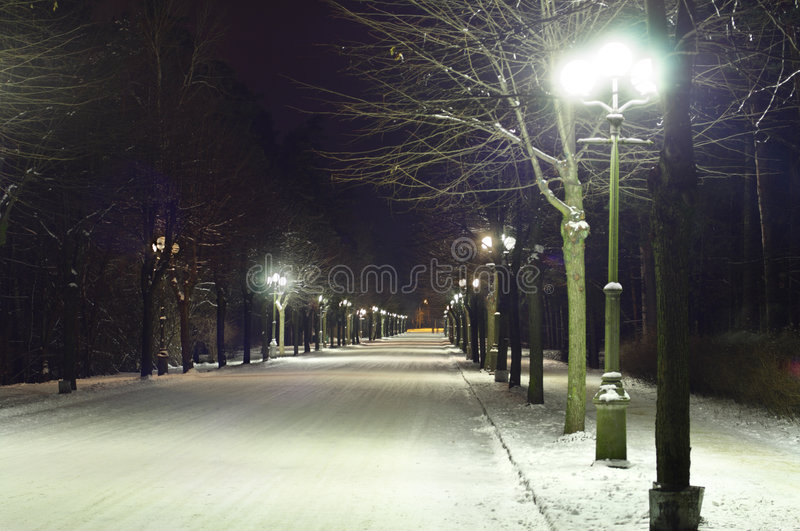 Night street scene. With bright street lamps. High dynamic range (HDR) multi-exposure image stock photos